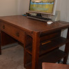 "Original to the ""Greene & Greene, Duncan-Irwin House"", at 240 North Grand Ave. in Pasadena Ca.<br /> Smaller desk with two side shelfs."