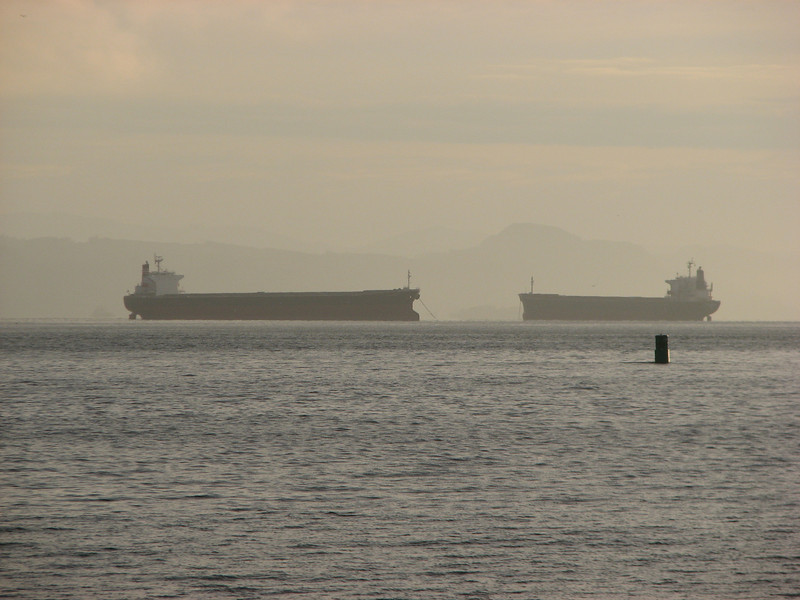 Tankers in the mist.