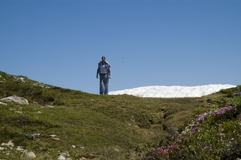 Grant checks a glacier at 7000 feet on Mt. Ranier (mid July...)