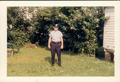"WPP-031: William (Bill) Patterson on first day ""on the job"" as a police officer 5th July 1960 at 320 West Main St. Boonton, New Jersey, USA"