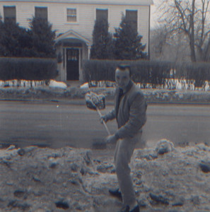 DPB-285: James (Jimmy) Patterson shoveling snow at 320 West Main Street, Boonton, NJ