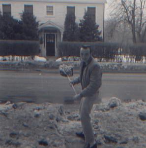 DPB-285: James (Jimmy) Patterson shoveling snow at 320 West Main Street, Boonton, NJ
