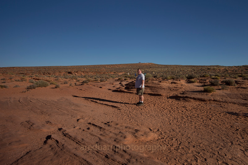 Evan& I were just leaving the over look of Horse Shoe bend,looking just over his shoulder at the covered rest point at the top of the rise,and only about a third of the way more from there to the car.It still was fun even if the kids thought I was not going to make it.