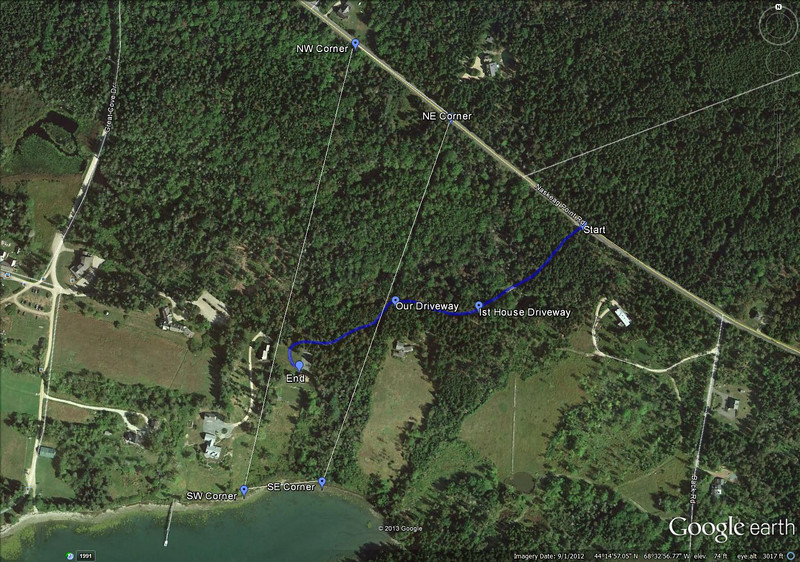 Google Earth image of the property.  17 acres with 350' of ocean frontage.  Hope Lane is a private road access to three houses, ours being the one in the middle.  There are walking paths through all the properties and along the shore.
