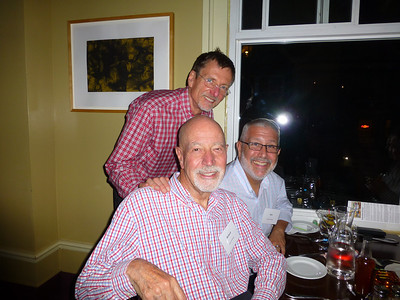 Guests at the Birthday Party: Galen with Ron and Richard.  R&R brought the gorgeous flower balloons!