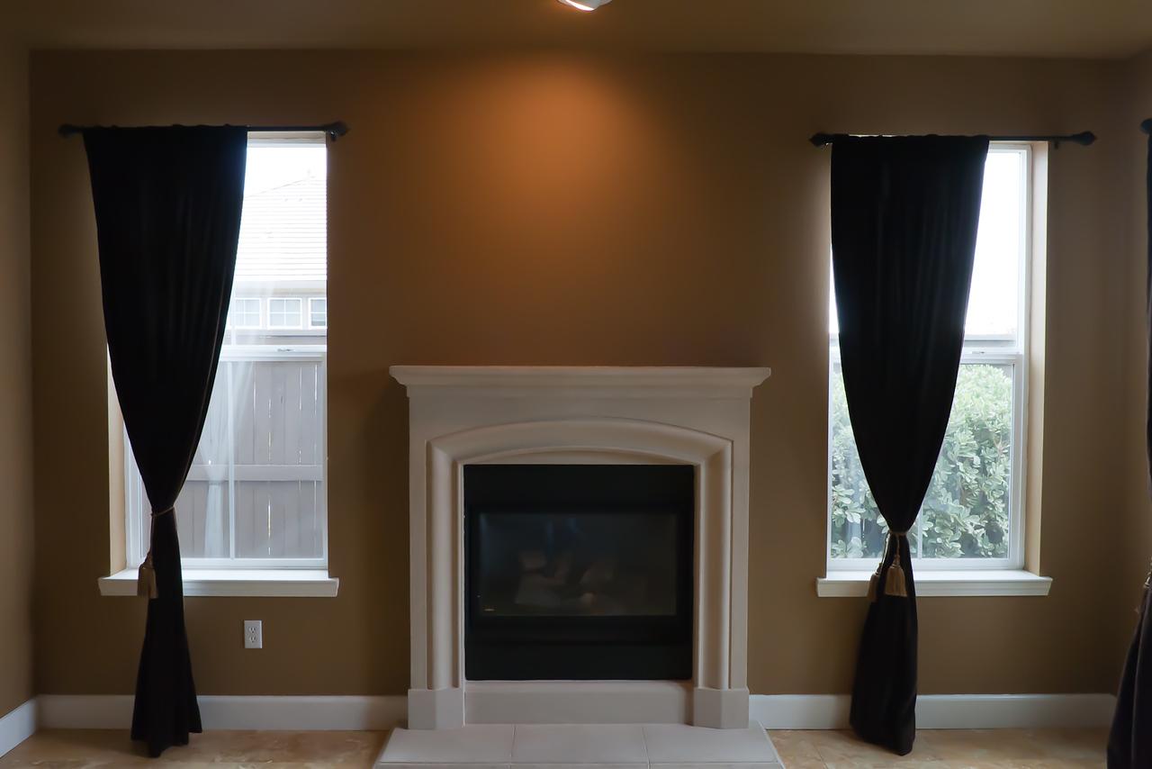 Living room fireplace closeup