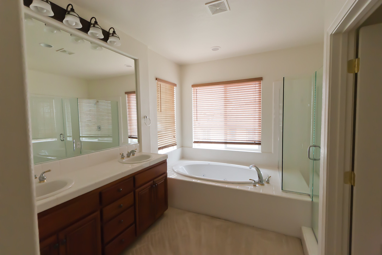 Master bedroom bath.  (Will have to get rid of the carpet...)