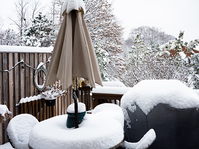 Danielle's back deck after we got snow bombed with seven inches.
