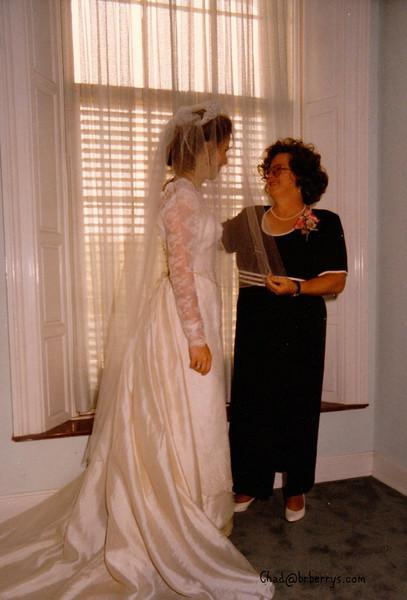 Keli and Chad's Wedding- Mom helps with veil