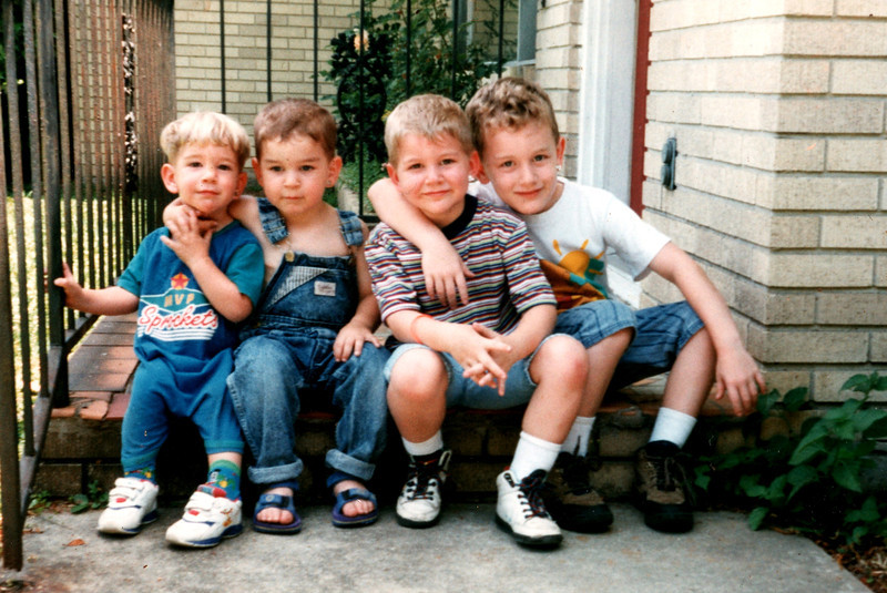 June 1996 My Great Grandchildren Devin Mason Von Grey Lamothe on my front steps - Granny