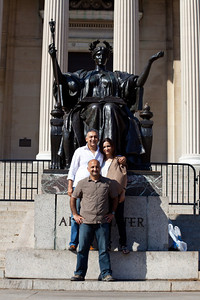 Columbia's welcome back.  Omar had to show the own hidden in a fold of the statue.  A new graduate was there too and clearly was not up to the lore from decades back.