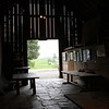 Inside of barn with a large, well documented historical account of the land.