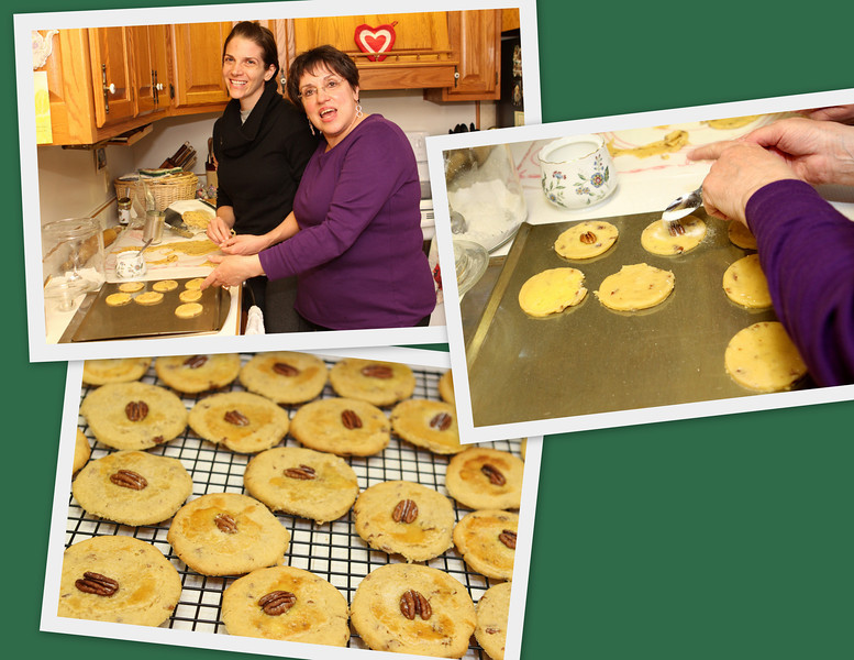 Cookie production underway - Laura Ann Sweitzer with her Aunt Beth.
