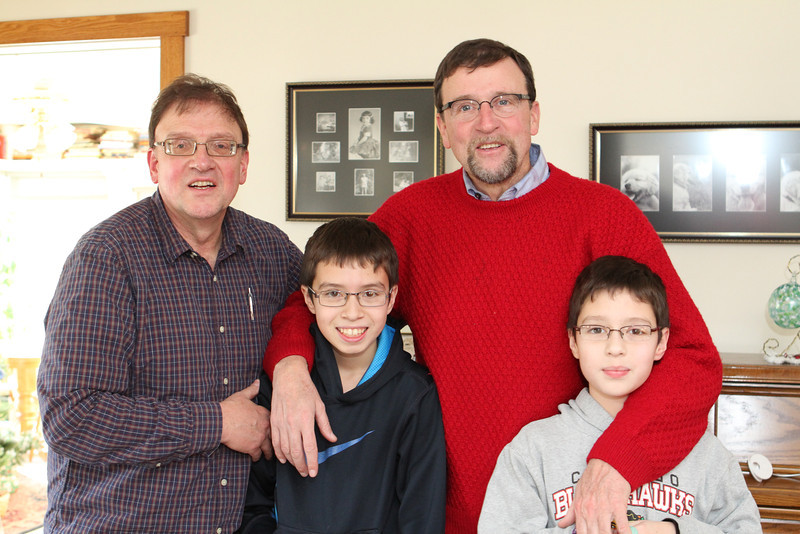 Brothers Kent (L) and Glenn (R) back row, with the next generation Bryan and Leo (front).