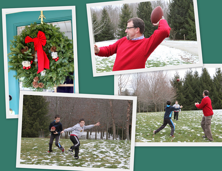 The Sweitzers extended the Thanksgiving tradition of playing football to include Christmas this year.  The snow did not hamper any major plays.
