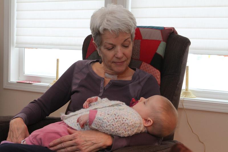 Here's Grandma Sarah Kathleen Haynes Sweitzer with her granddaughter Ruth Grace - sound asleep.