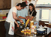 Dad teaching how to make pasta.  Tony & Monica help.  1986, Rochester, MN.