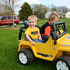 AJ & John playing in the yard.