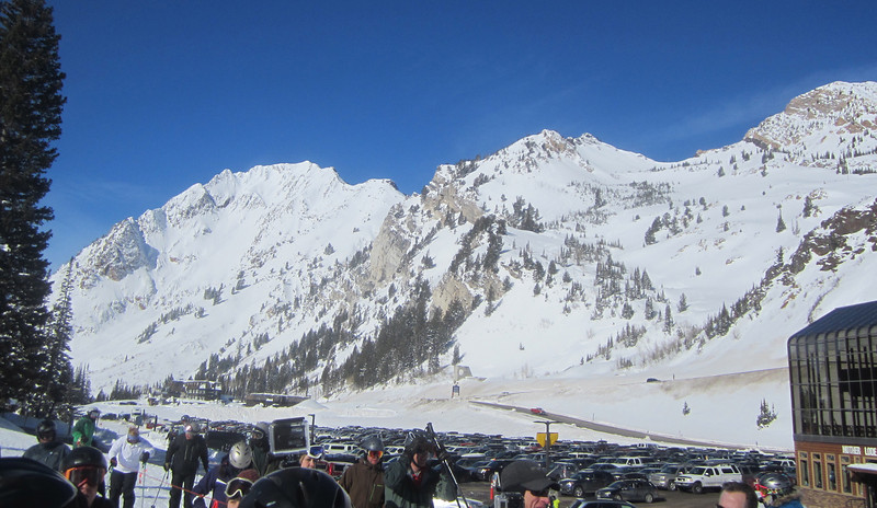 Final day at Alta and it's a Bluebird Day!! Here's looking at Mt. Superior on the left - people fly up to that ridge in a helicopter and ski it!! Some just even hike up!