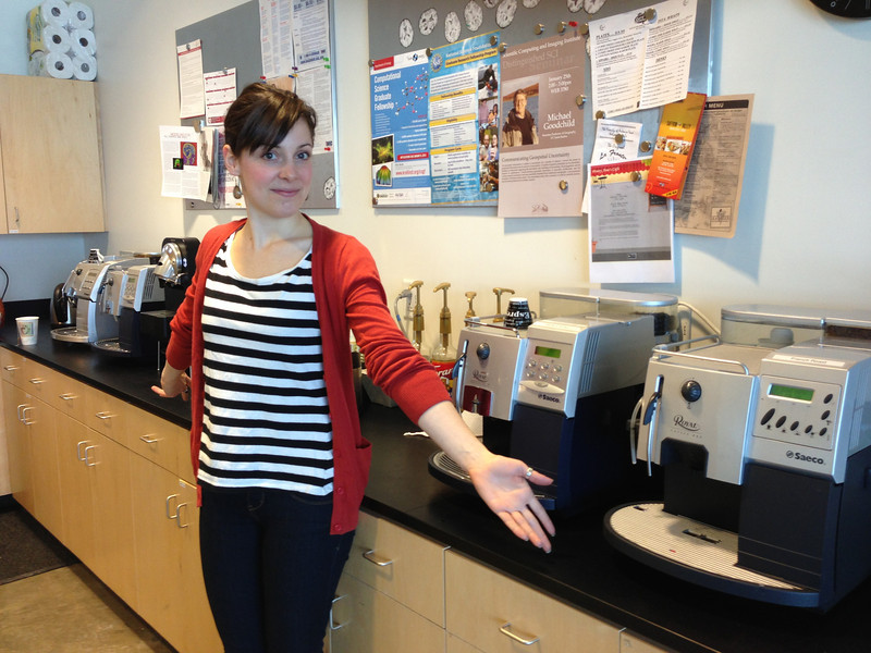 Meanwhile, Bethany checks out the 4 (!!!) espresso machines at Rob's SCI Institute!!
