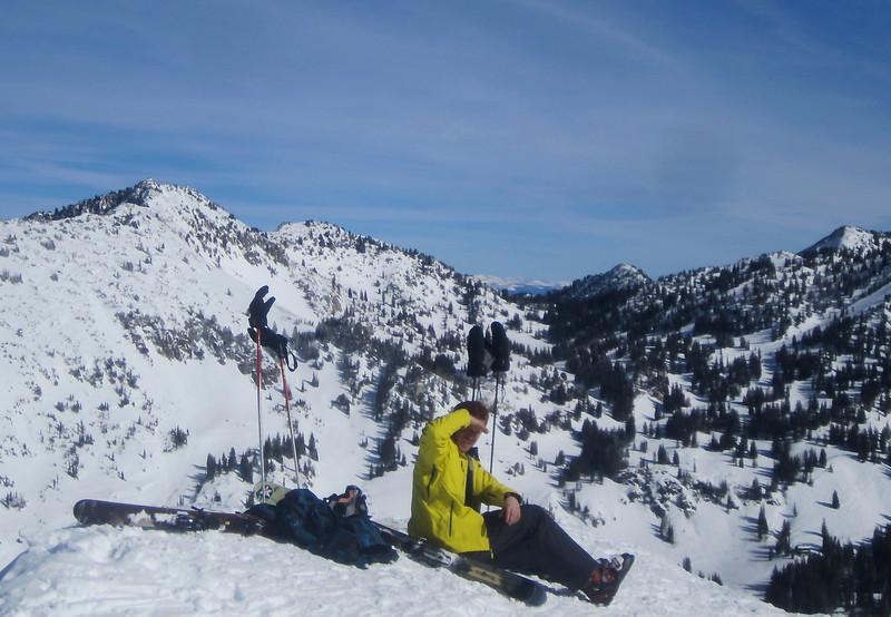 Niel at the top of Eddie's (top of Alta)!