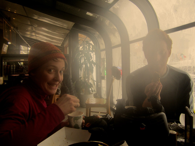 Miriam and Niel enjoying some treats after another long ski day!!