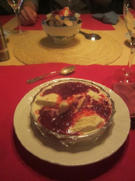 Vanilla ice cream with hot raspberry coulis!!