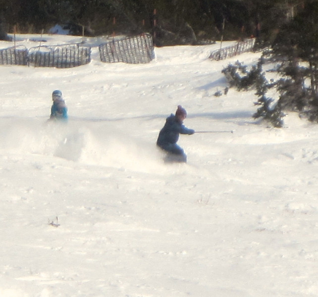 Paul on the right, schussing through powder!