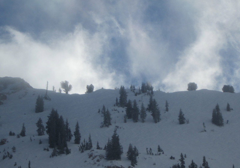 The clouds blowing over Alta's ridge at Greely's Bowl - 3rd's!