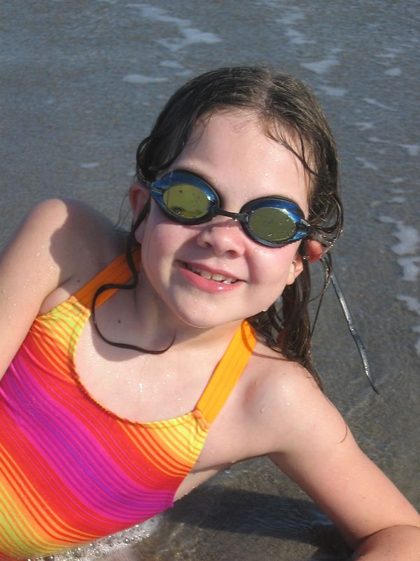 Rowan never goes swimming without her goggles.