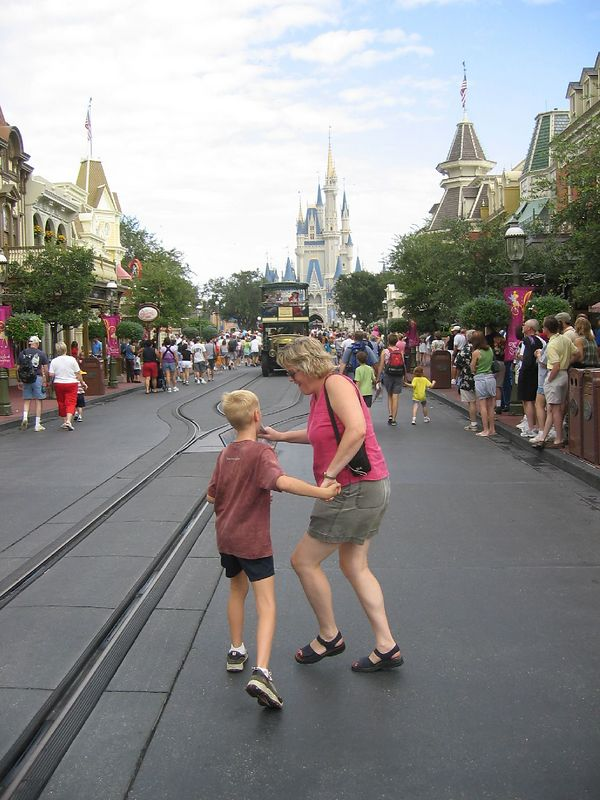 Iain and Aunt Lynne take off up Main Street.