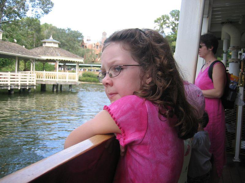 Rowan on the ferry boat ride around Tom Sawyer's Island.