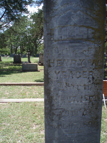 This gravestone is Henry W. YEAGER:<br /> 1. Lilly Elizabeth, first daughter of Louis<br /> Philip and Sophia (Flato) Amsler, was born<br /> 27 Jly 1870 and died 18 Sep 1896. According<br /> to her gravestone in the Flatonia<br /> Cemetery, she married Henry W. YEAGER,<br /> but had no children, relatives say