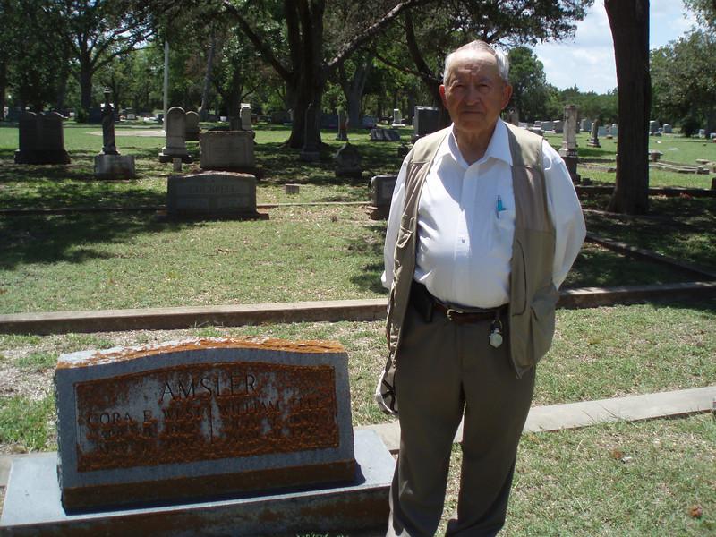 Sammy Amsler at gravesite of his grandparents. 6/16/12