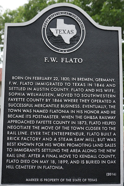 "F. W. Flato was grandfather to W. T. Amsler, who was Sammy Amsler's grandfather.  His mother's name was Sophia Flato Amsler whose life is described n ""Amslers of Austin's Colony"""
