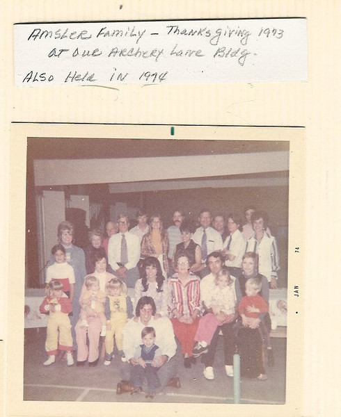 Start of images of family reunions in the 70;s at Austin Texas, mostly within L P Amsler's Archery shop.
