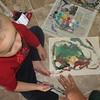 Andres had fun painting his way.....