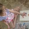 Elena made handprints.  Nice dress