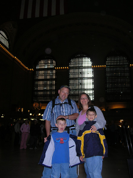 Uncle Tony, Aunt Sue, Emery and Everett in Grand Central.