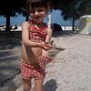 Abbey with a Gecko at Manatee Beach, Ana Maria Island, FL