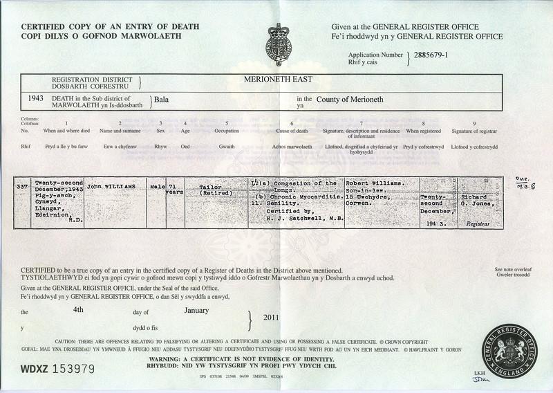 John Williams Death Certificate.