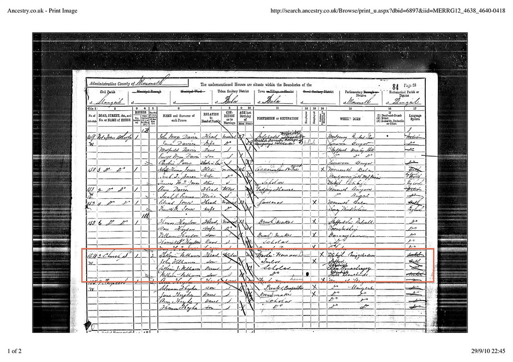 John Williams, aged 18, living in 2 Church Street, Bala. 1891 Census. Already a tailor!