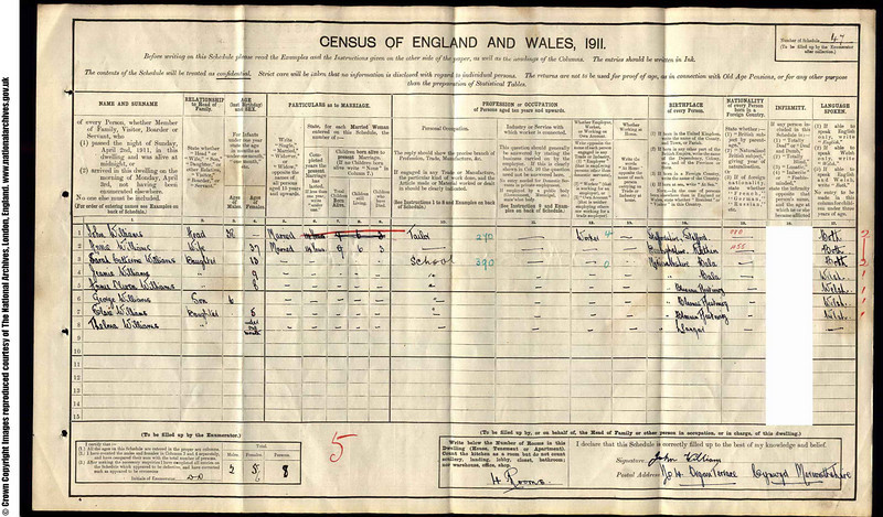 Sarah Catherine Williams, aged 13, living in 4 Organ Terrace, Cynwyd. 1911 Census