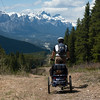 <b>5 June 2011</b> Skogan Pass - Biking back down again towards Canmore, turned back by a huge snow patch that went as far as we could see
