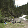 <b>25 June 2011</b> Nappy changing by Goat Creek (cycling from Canmore to Banff and back again)