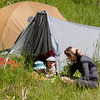 <b>23 July 2011</b> Finn hanging out by our tent with Felix and Amelie