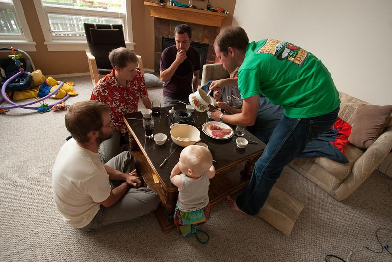 Fondue party!  Finn, Alex, Joel, Steve, Kristy and Brendan