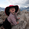<b>6 August 2011</b> Finn on the summit of Mount Indefatigable's southern peak