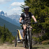 <b>5 June 2011</b> Skogan Pass - already cycled along the old mining road from Canmore, now heading up the track by the powerlines to reach the pass