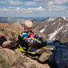 <b>22 June 2011</b> Hanging out below the summit, Finn investigates the hydrapack
